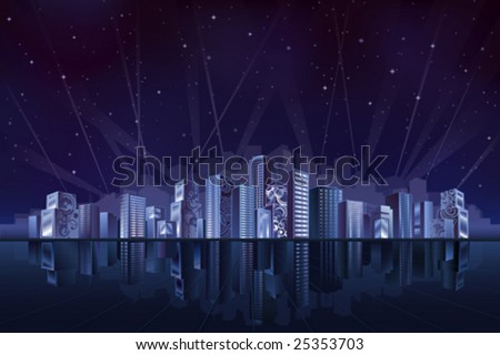 Big fantastic city at night (other landscapes are in my gallery) - stock vector