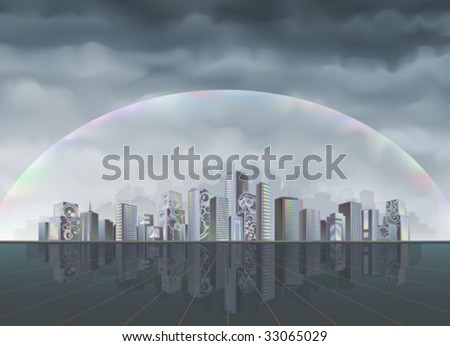 Big fantastic city protected from the hostile environment by rainbow force field (better viewed at higher resolution) - stock vector