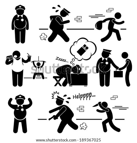 Big Fat Lazy Police Cop Stick Figure Pictogram Icon Cliparts - stock vector