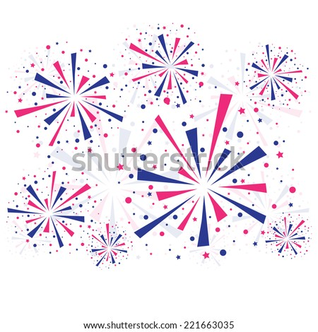 Big fireworks on white background with shadow. eps10