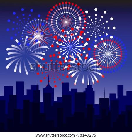 Big fireworks over the skyline - stock vector