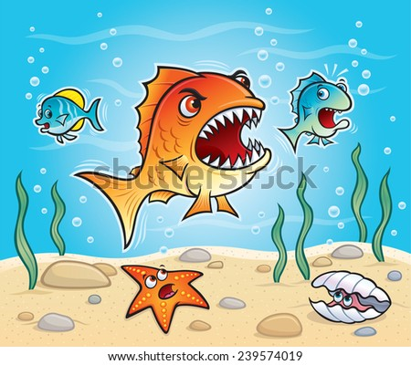 Big Fish About To Chomp A Little Fish - stock vector