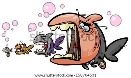Big fish Cartoon allegory. - stock vector