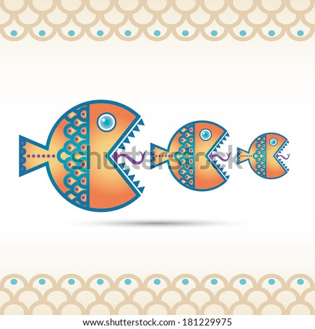 Big fish devouring a small fish. Vector illustration. - stock vector