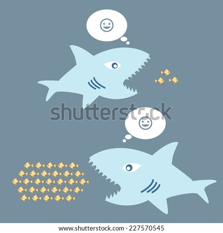 big fish eat little fish, the concept of thinking big and thinking small. - stock vector