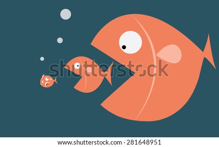 Big fish eat small fish - stock vector