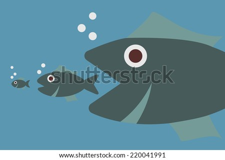 big fish eating little fish, vector concept - stock vector