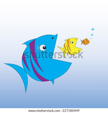Big fish eats little fish. Vector illustration. - stock vector