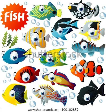 Big Fish Vector Set - stock vector