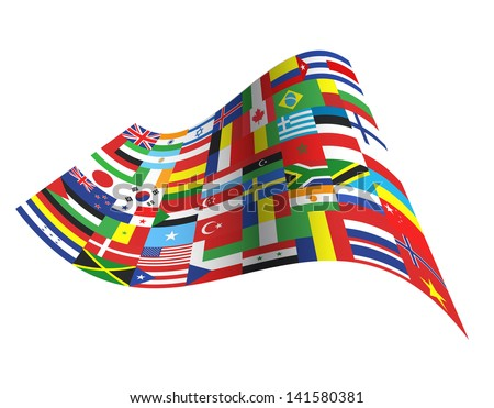 Big flag with all countries design. - stock vector