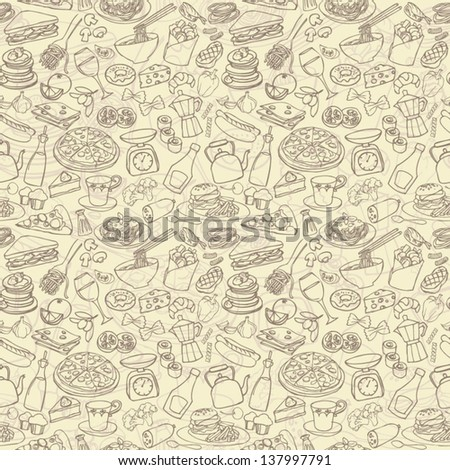 Big food mix seamless background pattern - stock vector