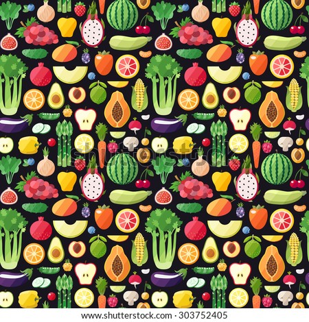 Big fruits and vegetables seamless vector pattern. Modern flat design. Healthy food wrapping paper. - stock vector