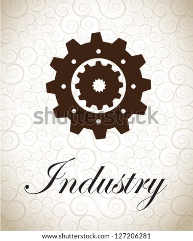 Big gear over vintage background vector illustration - stock vector