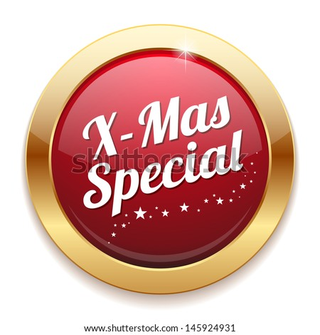 Big gold and red christmas special button