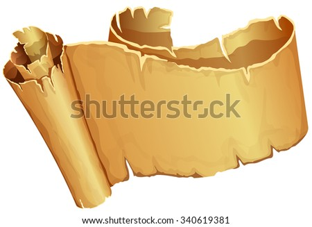 Big golden ribbon of parchment on white background - stock vector