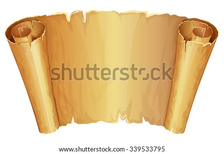 Big golden scroll of parchment on white background - stock vector