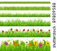 Big Grass And Flower Set, Isolated On White Background, Vector Illustration - stock vector