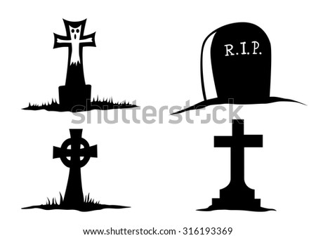 big gravestones on a white background