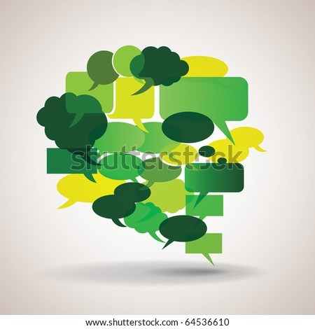 Big green and yellow speech bubble made from small bubbles - stock vector