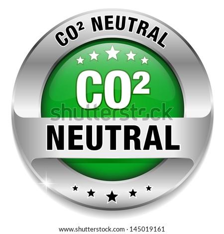 Big green carbon dioxide neutral button - stock vector