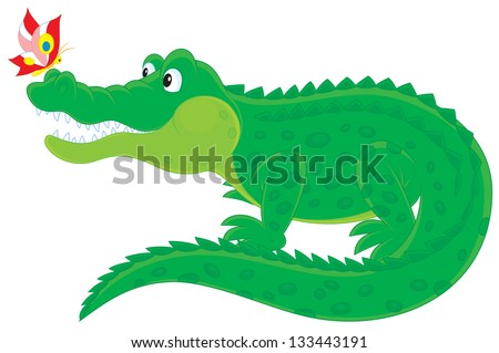 Big green crocodile with a small colorful butterfly sitting on his nose - stock vector