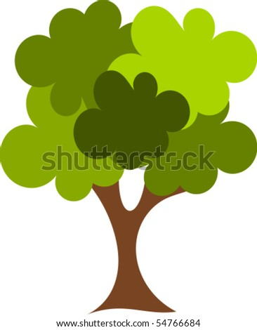 Big green oak tree vector illustration - stock vector