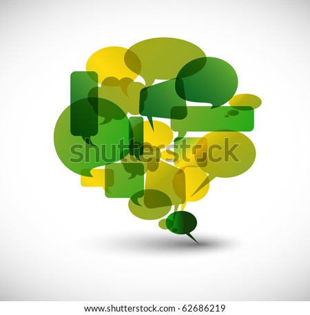 Big green speech bubble made from small bubbles - stock vector