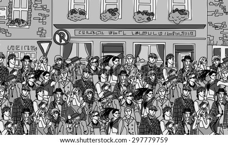 Big group fashion people walking on the abstract street. Black and white vector illustration. - stock vector