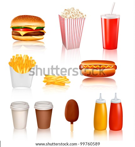 Big group of fast food products. Vector illustration - stock vector
