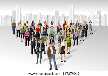 Big group of people on the city - stock vector