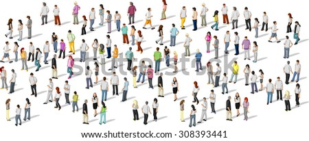 Big group of people on white background  - stock vector
