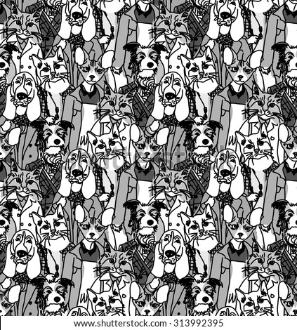 Big group of pets looking like people. Seamless pattern. Monochrome vector illustration. EPS8 - stock vector