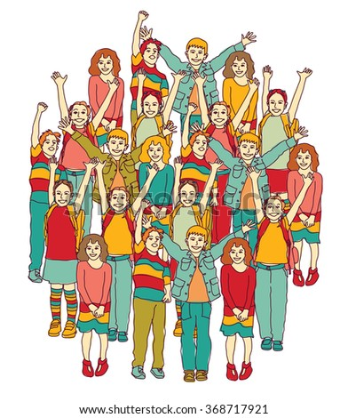 Big group of smiling happy children isolate on white. Color vector illustration. EPS8 - stock vector