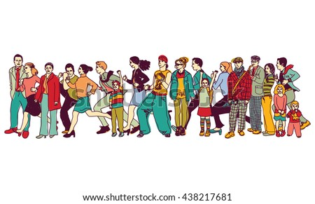 Big group people standing queue tail waiting line. Color vector illustration. EPS8