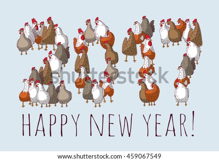 Big group sign chicken new year greeting card. Color vector illustration. EPS8