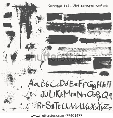 big grunge set - dirt and ink and alphabet - stock vector