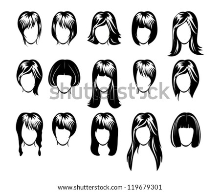 big hairstyle collection - stock vector