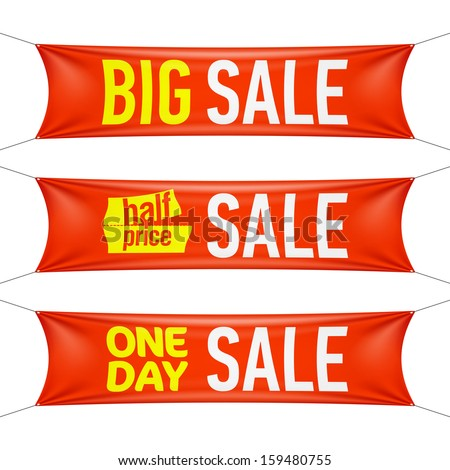 Big, half price and one day sale banners. Vector. - stock vector