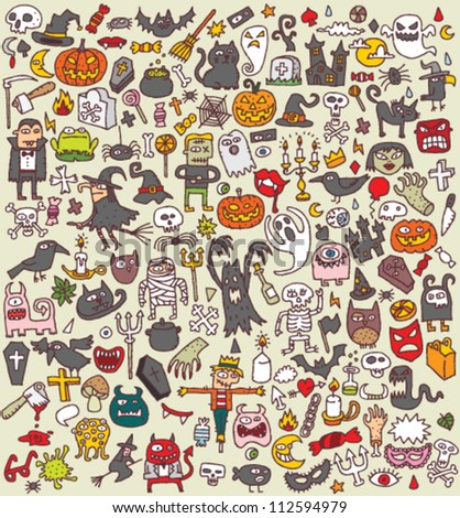 Big Halloween Collection of small hand drawn illustrations (icons) - stock vector
