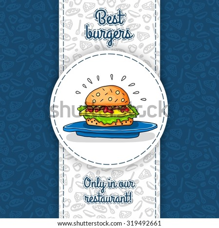 Big hamburger with cheese, sauce, two burgers, lettuce, lying on big blue plate. Vector work for flyers, menus, packaging, advertising, cafes and restaurants. Seamless pattern, texture of restaurant.  - stock vector