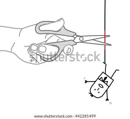 Big hand and  businessman - cutting the rope - stock vector