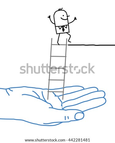 Big hand and  businessman - help and ladder