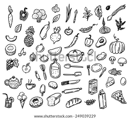 Big hand drawn doodle healthy food icons set  - stock vector