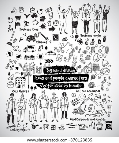 Big hand drawn icons and people doodles bundle. Black and white vector illustration. EPS8
