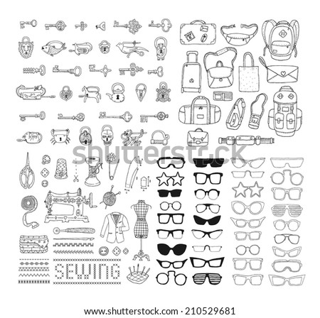 Big hand drawn set with different objects. Set of vintage locks and keys. Bags. Vintage sewing accessories. Set of sunglasses and glasses. Doodles. Isolated  on a white background. - stock vector