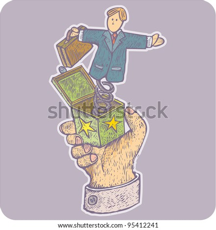 Big hand hold a jack in the box toy with businessman instead of the puppet power concept in engrave style