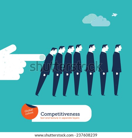 Big hand pushing down a businessmen group domino effect. Vector illustration Eps10 file. Global colors. Text and Texture in separate layers. - stock vector
