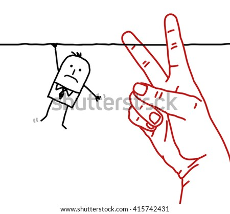 big hand with cartoon character - cutting