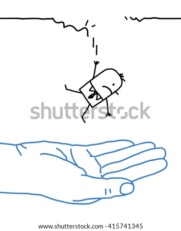 big hand with cartoon character - falling - stock vector