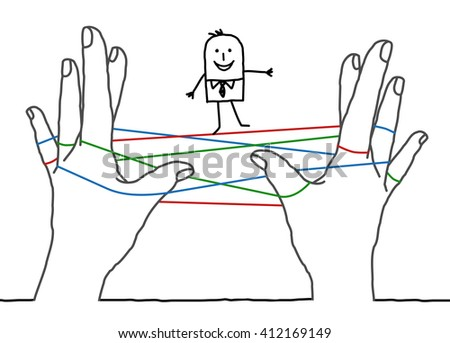 big hands and cartoon businessman - clean network - stock vector